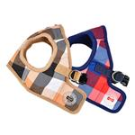 View Image 4 of Quinn Plaid Vest Dog Harness by Puppia - Beige
