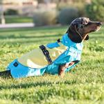 View Image 3 of Dog Raincoat Body Wrap by Doggie Design - Blue and Yellow