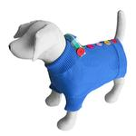 View Image 1 of Rainbow Button Dog Sweater by Beverly Hills Dog - Blue