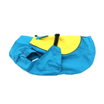 View Image 1 of Dog Raincoat Body Wrap by Doggie Design - Blue and Yellow