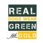 View Image 2 of Real Dogs Wear Green and Gold Dog Shirt - White