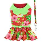 View Image 2 of Red Hawaiian Hibiscus Designer Dog Harness Dress by Doggie Design