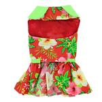 View Image 3 of Red Hawaiian Hibiscus Designer Dog Harness Dress by Doggie Design