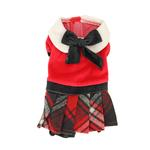 View Image 2 of Red Plaid Velvet Jumper by Hip Doggie