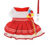 View Image 2 of Red Polka Dot Balloon Designer Dog Harness Dress by Doggie Design