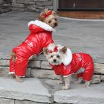 View Image 1 of Ruffin It Snowsuit by Doggie Design - Red