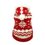 View Image 1 of Red Snowflake Dog Hoodie by Hip Doggie