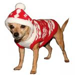 View Image 3 of Red Snowflake Dog Hoodie by Hip Doggie
