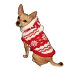 View Image 2 of Red Snowflake Dog Hoodie by Hip Doggie