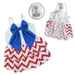 View Image 2 of Red, White, and Blue Large Bow Dog Sundress By Klippo