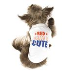 View Image 3 of Red, White & Cute Dog Shirt - White