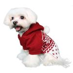 View Image 2 of Reese Dog Sweater Hoodie by Pooch Outfitters - Red