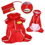 View Image 2 of Reflective Striped Raincoat Bodysuit & Matching Pouch by Klippo - Red