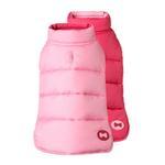 View Image 1 of Reversible Bone Puffer Dog Jacket by fabdog® - Pink/Light Pink