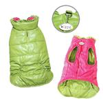 View Image 1 of Reversible Parka Dog Vest with Ruffle Trim by Klippo - Lime and Pink