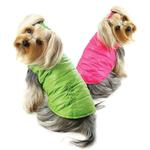 View Image 2 of Reversible Parka Dog Vest with Ruffle Trim by Klippo - Lime and Pink