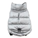 View Image 2 of Reversible Puffer Dog Vest by Hip Doggie - Silver Argyle