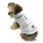 View Image 4 of Reversible Puffer Dog Vest by Hip Doggie - Silver Argyle