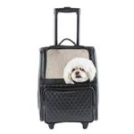 View Image 1 of Rio Rolling Quilted Luxe Dog Carrier Backpack - Black