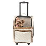 View Image 1 of Rio Rolling Quilted Luxe Dog Carrier Backpack - Ivory