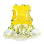 View Image 3 of Rose Print Dog Dress - Yellow