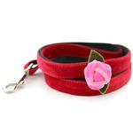 View Image 3 of Rosebud Red Velvet Small Dog Collar and Leash Set by Diva Dog