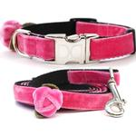 View Image 1 of Rosebud Pink Velvet Small Dog Collar and Leash Set by Diva Dog