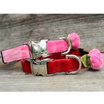 View Image 3 of Rosebud Pink Velvet Small Dog Collar and Leash Set by Diva Dog