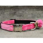View Image 2 of Rosebud Pink Velvet Small Dog Collar and Leash Set by Diva Dog
