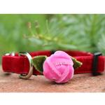 View Image 5 of Rosebud Red Velvet Small Dog Collar and Leash Set by Diva Dog