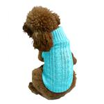 View Image 1 of Scottish Cable Knit Dog Sweater by The Dog Squad - Light Turquoise