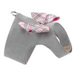 View Image 2 of Scotty Bailey Dog Harness with Nouveau Bow by Susan Lanci - Platinum with Puppy Pink Plaid
