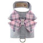 View Image 1 of Scotty Bailey Dog Harness with Nouveau Bow by Susan Lanci - Platinum with Puppy Pink Plaid