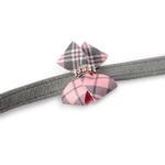 View Image 2 of Scotty Nouveau Bow Dog Leash by Susan Lanci - Platinum with Puppy Pink Plaid