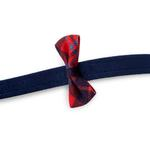 View Image 2 of Scotty Bow Tie Dog Leash by Susan Lanci - Navy with Chestnut Plaid