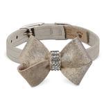 View Image 1 of Champagne Glizerati Nouveau Bow Luxury Dog Collar by Susan Lanci - Doe