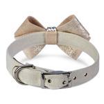 View Image 2 of Champagne Glizerati Nouveau Bow Luxury Dog Collar by Susan Lanci - Doe