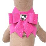 View Image 1 of Stardust Tail Bow Heart Tinkie Dog Harness by Susan Lanci - Sapphire Pink