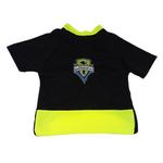 View Image 1 of Seattle Sounders Athletic Mesh Dog Jersey - Black with Neon Trim