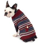 View Image 1 of Shadow's Fair Isle Dog Sweater - Cranberry and Gray