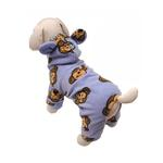 View Image 1 of Silly Monkey Fleece Hooded Dog Pajamas by Klippo - Lavender