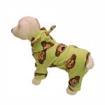 View Image 1 of Silly Monkey Fleece Hooded Dog Pajamas by Klippo - Lime