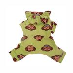 View Image 2 of Silly Monkey Fleece Hooded Dog Pajamas by Klippo - Lime