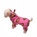 View Image 1 of Silly Monkey Fleece Hooded Dog Pajamas by Klippo - Pink