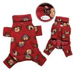 View Image 1 of Silly Monkey Fleece Turtleneck Dog Pajamas - Burgundy