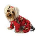 View Image 2 of Silly Monkey Fleece Turtleneck Dog Pajamas - Burgundy