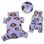 View Image 1 of Silly Monkey Fleece Turtleneck Dog Pajamas - Lavender