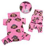 View Image 1 of Silly Monkey Fleece Turtleneck Dog Pajamas - Pink