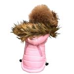 View Image 1 of Ski Bunny Puffer Dog Coat with Detachable Hood - Pretty Pink