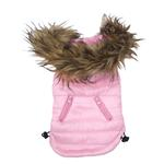 View Image 2 of Ski Bunny Puffer Dog Coat with Detachable Hood - Pretty Pink